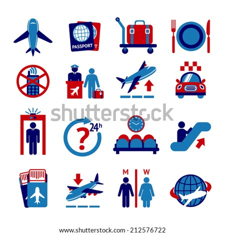 Airport travel button icons set with plane security check baggage control isolated vector illustration - stock vector