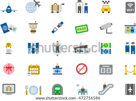 AIRPORT & TRAVEL colored flat icons