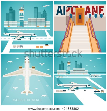 Airport vector concepts set in flat style - stock vector