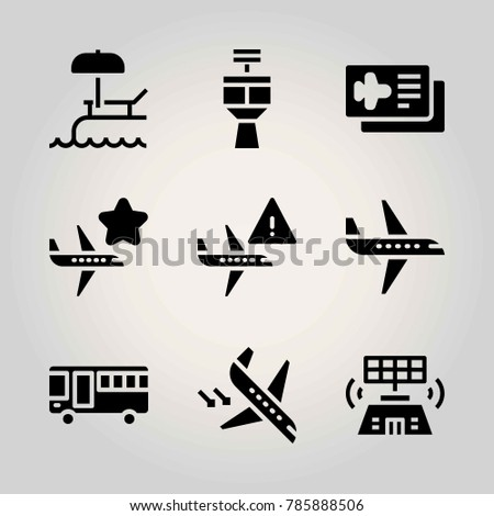 Airport vector icon net. airplane, airplane ticket, bus and plane