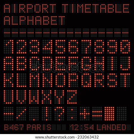 Airport vector timetable red alphabet.