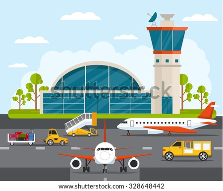 Airport with infographic elements templates. Vector flat illustration - stock vector