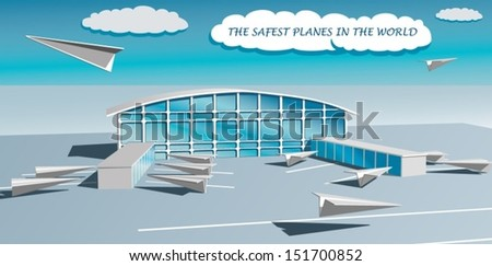Airport with paper planes - stock vector