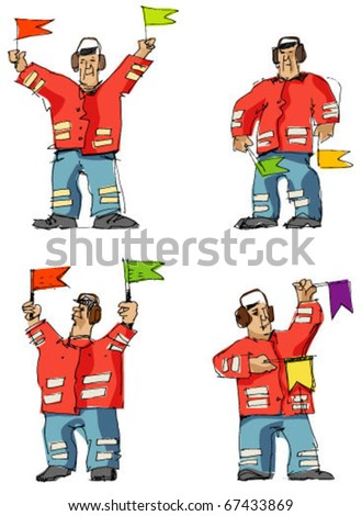 airport worker with flag - stock vector