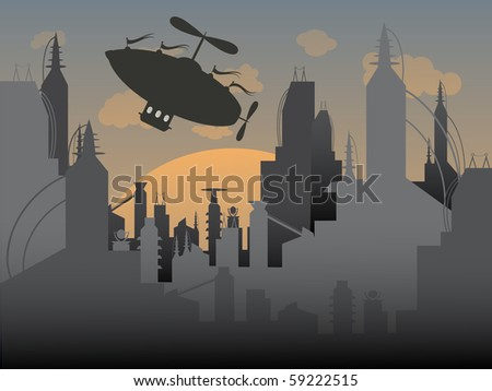 Airship flies away from a futuristic urban city vector illustration - stock vector