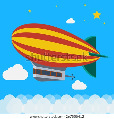 airship flying above clouds, Travel the world monument concept. vector illustrations - stock vector