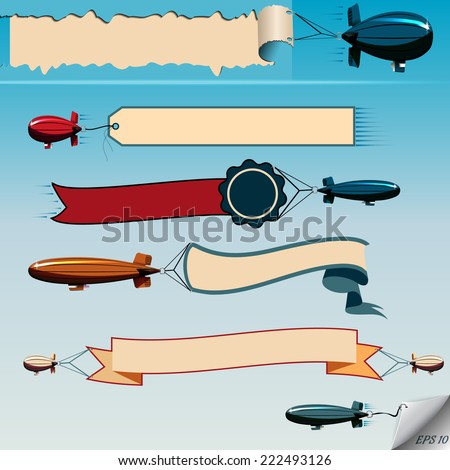Airship  flying in the sky with banners vector set - stock vector