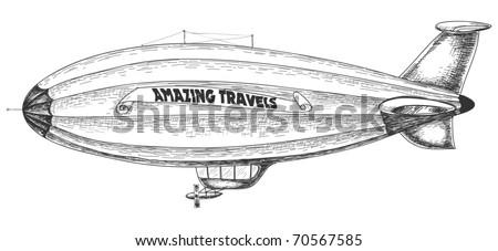 Airship pencil drawing - stock vector