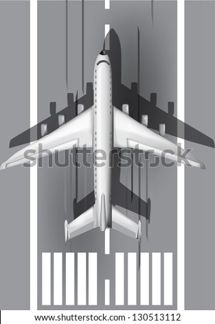 Airstrip with airplane eps10 - stock vector