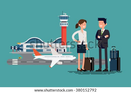 Airway business travel vector. Business trip cool flat illustration. Business man and woman ready to board on jet liner plane at airport terminal. Business characters couple with hand luggage standing - stock vector