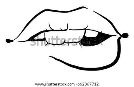 how to draw girl biting lips