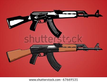 AK-47 assault rifle vector image - stock vector