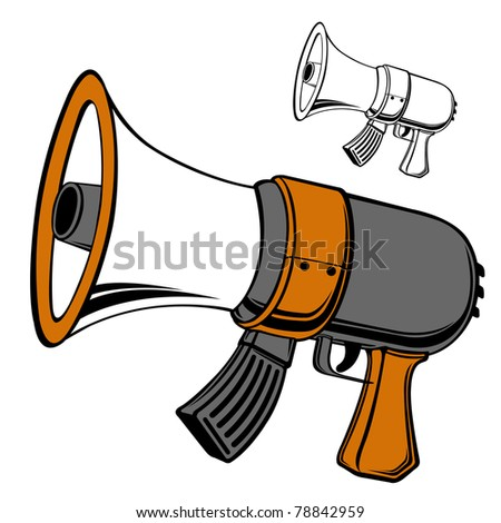 ak-47 megaphone, automatic rifle bullhorn, simple outline style