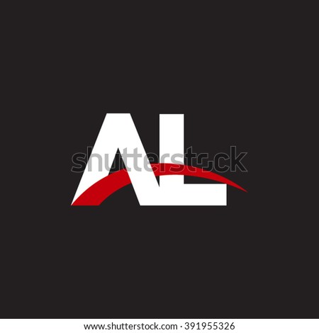 AL initial overlapping swoosh letter logo white red black background