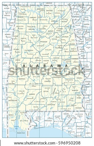 Alabama State Map Cities Towns Lakes Stock Vector - Alabama rivers map