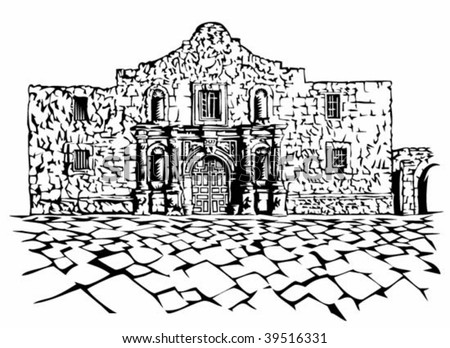 Alamo illustration - stock vector