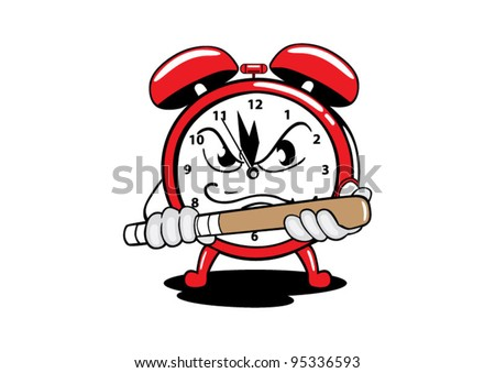 alarm clock angry - stock vector