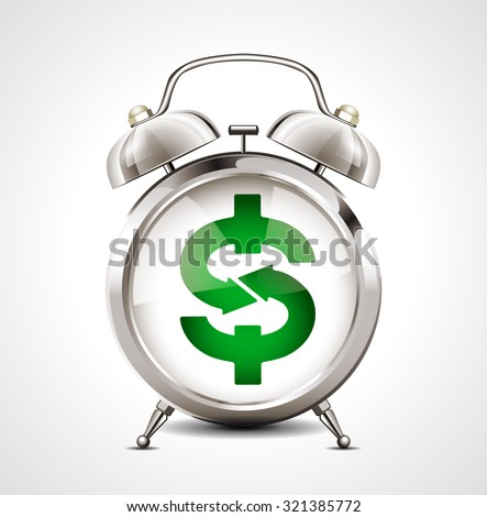 Alarm clock - business symbol - dollar sign - stock vector