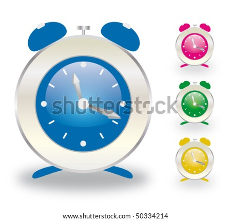 Alarm clock collection isolated on white background - stock vector