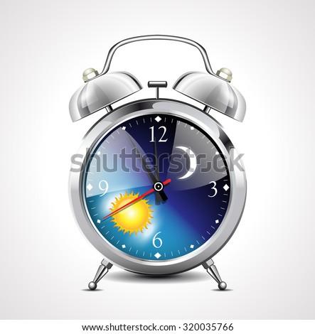 Alarm clock - day to night  - stock vector