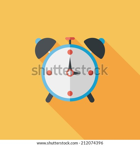 alarm clock flat icon with long shadow,eps10 - stock vector