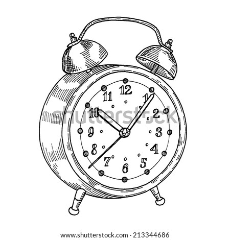 Alarm Clock, freehand drawing, gravure style - stock vector
