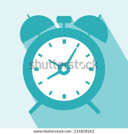 Alarm Clock Icon. Alarm Clock Icon vector isolated on light blue background. Alarm Clock Icon with Long Shadow. All in a single layer. Vector illustration. Elements for design. - stock vector