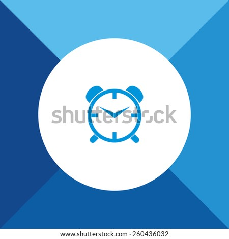 Alarm Clock Icon On Blue Background. Eps-10. - stock vector