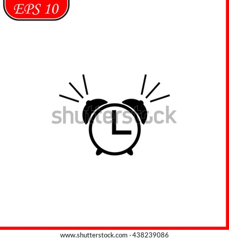 Alarm clock icon. Simple black vector symbol. Logo for web. Image for business. - stock vector