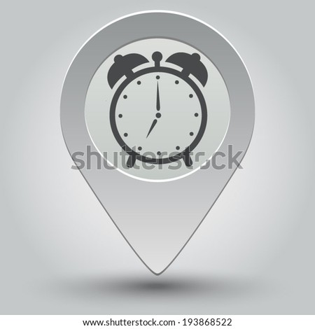 alarm clock icon - vector map pointer with shadow on light background - stock vector
