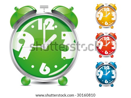 Alarm Clock Illustration (Global Swatches Included) - stock vector