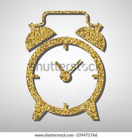 Alarm clock illustration. Golden icon - stock vector