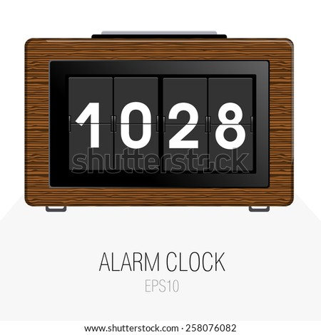 alarm clock in retro realistic style with wood texture and big button on top - icon vector - stock vector