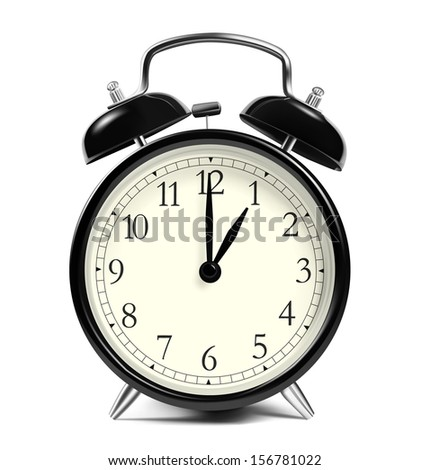Alarm clock isolated on white background. Vector illustration. Hour of the night. Realistic image. - stock vector