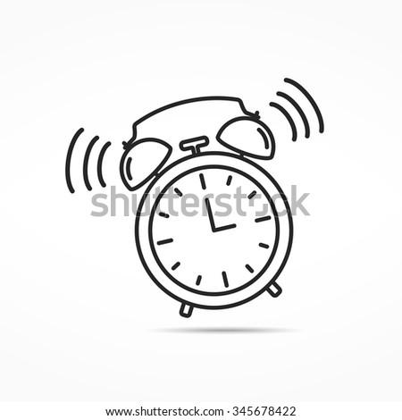 Alarm clock line icon, vector eps10 illustration - stock vector