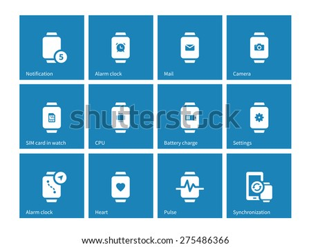 Alarm clock, mail in smart watch icons on blue background. Vector illustration. - stock vector