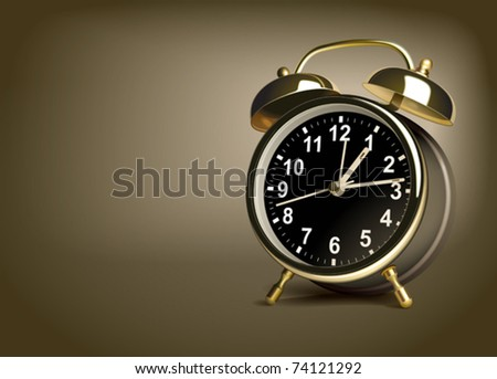 Alarm clock on a brown background. Vector illustration - stock vector