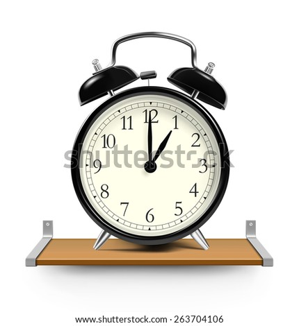 Alarm clock on wooden shelve isolated on white background. Vector illustration - stock vector
