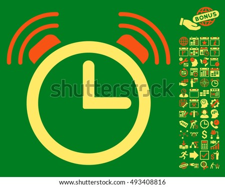 Alarm Clock pictograph with bonus calendar and time management images. Vector illustration style is flat iconic bicolor symbols, orange and yellow colors, green background.