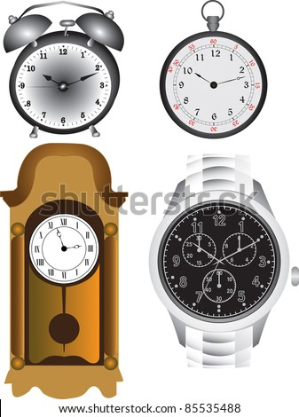 Alarm clock, pocket clock, wall clock and a watch