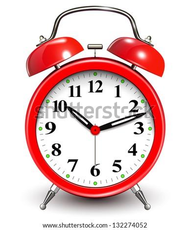 Alarm clock red - stock vector