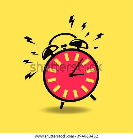 alarm clock, red and yellow vector illustration