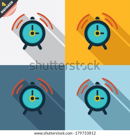 Alarm clock sign icon. Wake up alarm symbol. Four squares. Colored Flat design buttons. Vector - stock vector
