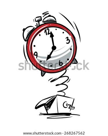 alarm clock sketch illustration - stock vector