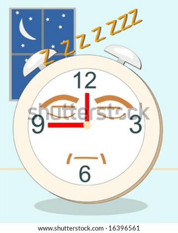 Alarm clock sleeping and snoring - stock vector