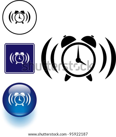 alarm clock symbol sign and button - stock vector