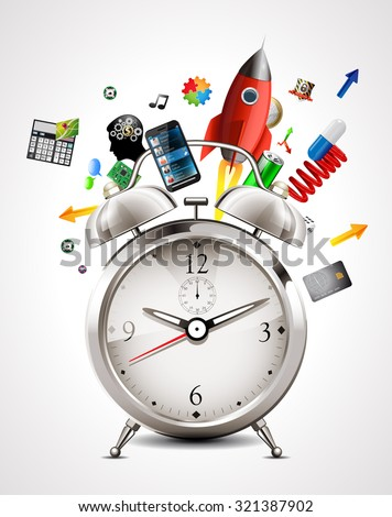 Alarm clock - time management - stock vector