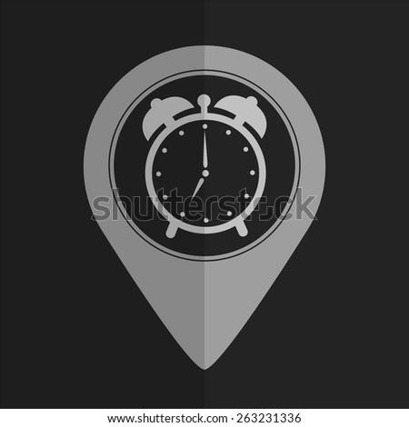 Alarm clock vector icon - map pointer. Flat design - stock vector