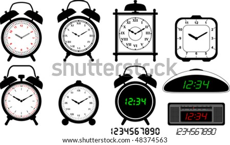 Alarm clocks collection - stock vector