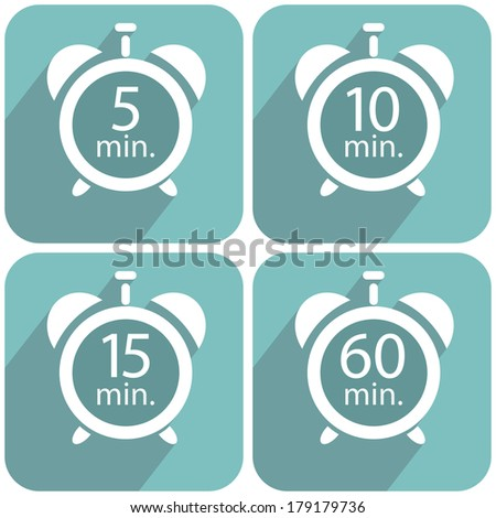 Alarm clocks timers on a blue background - stock vector